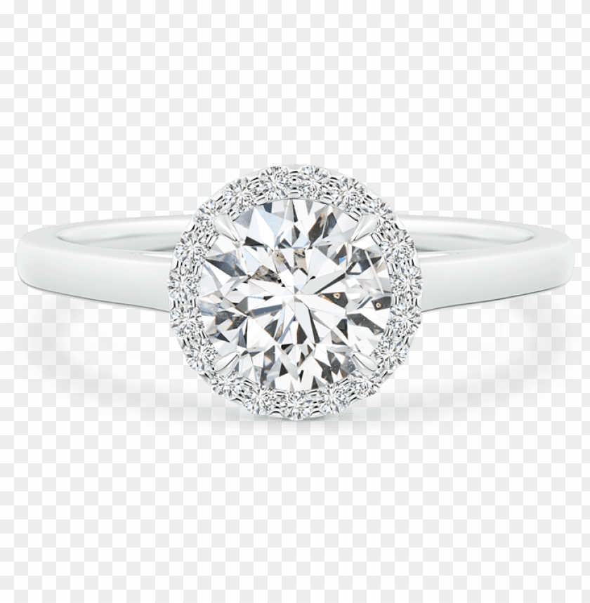 free PNG cathedral round lab grown diamond halo ring with claw-setting - classic diamond halo engagement ri PNG image with transparent background PNG images transparent