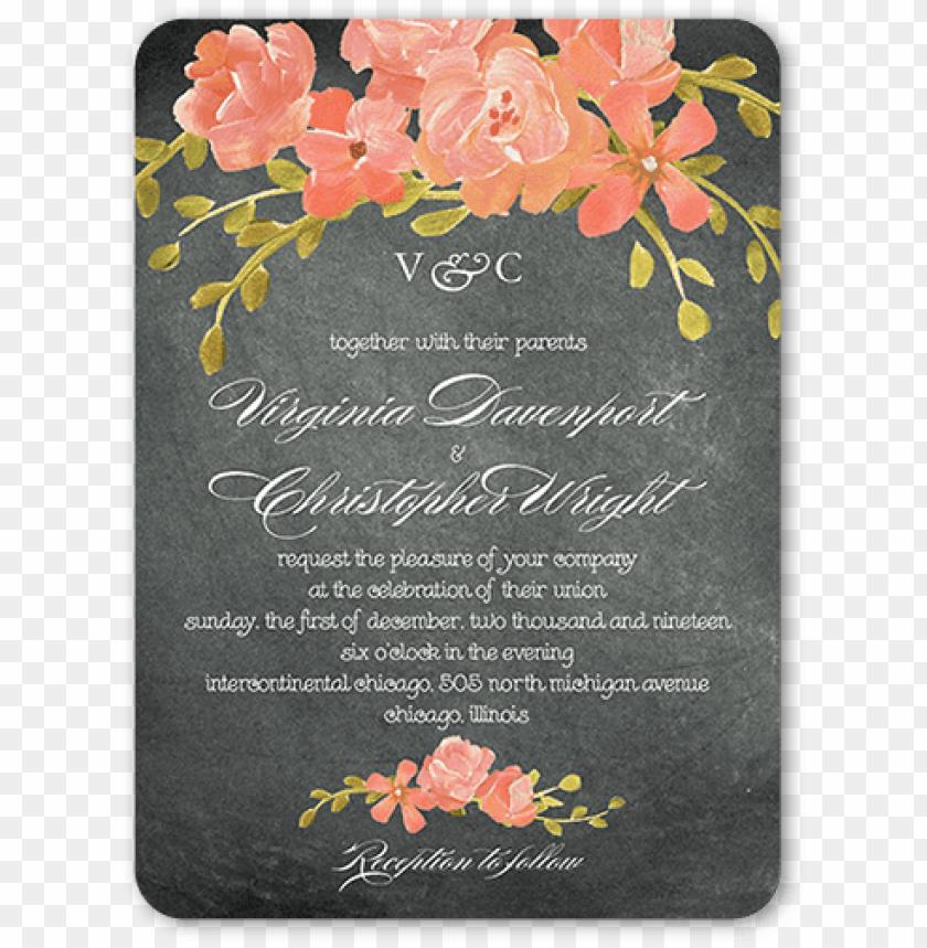 free PNG chalkboard floral wedding invitation, rounded corners, - gray floral wedding invite PNG image with transparent background PNG images transparent