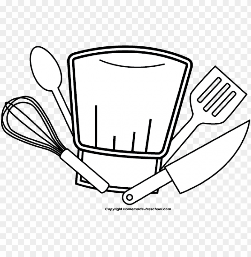 free PNG chef hat utensils bw clipart image - chef clipart PNG image with transparent background PNG images transparent