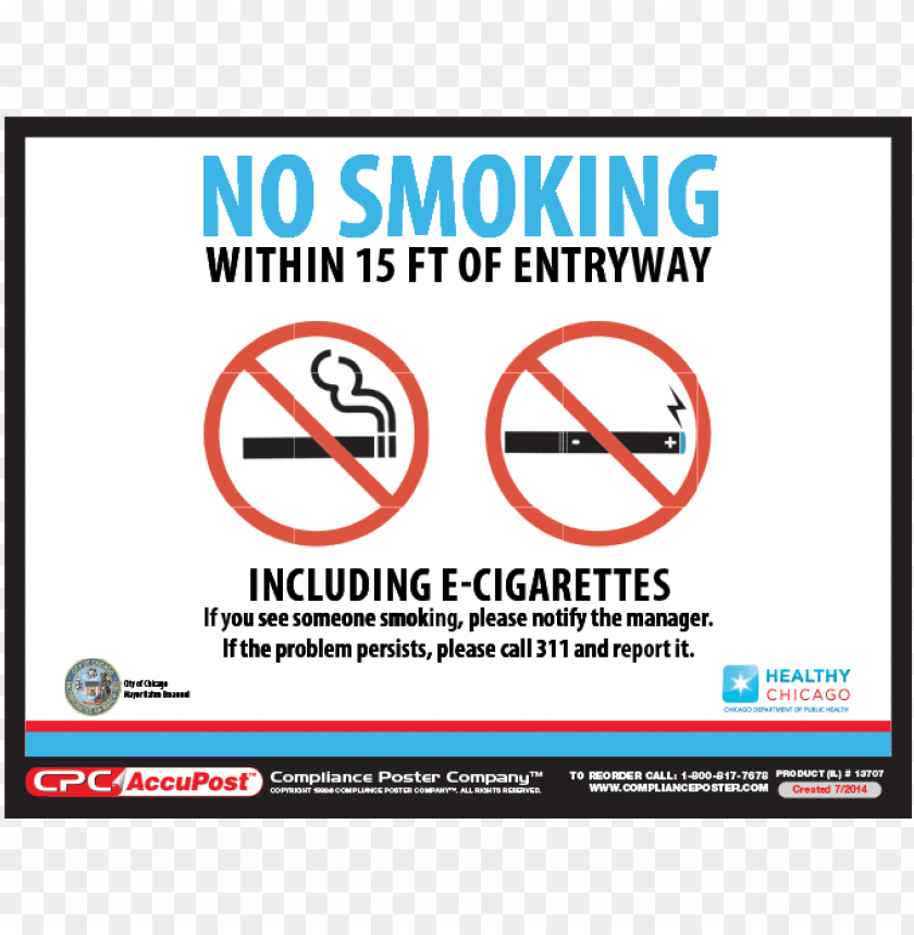 free PNG chicago no smoking poster - no smoking e cigarettes city of chicago PNG image with transparent background PNG images transparent