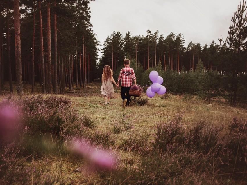 free PNG children, walk, couple, childhood, mood, balloons, basket background PNG images transparent