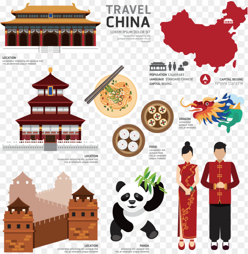 free PNG china map,tiananmen of heaven, great wall - poster on chinese culture PNG image with transparent background PNG images transparent
