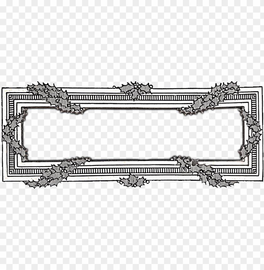 free PNG christmas clip art holly frame - vintage christmas clip art black and white PNG image with transparent background PNG images transparent