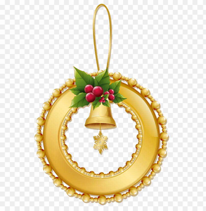 free PNG christmas gold wreath with bell png ornament PNG Images PNG images transparent