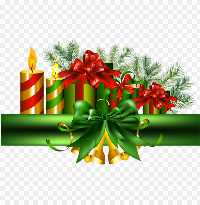 free PNG christmas green decoration with golden bells PNG Images PNG images transparent