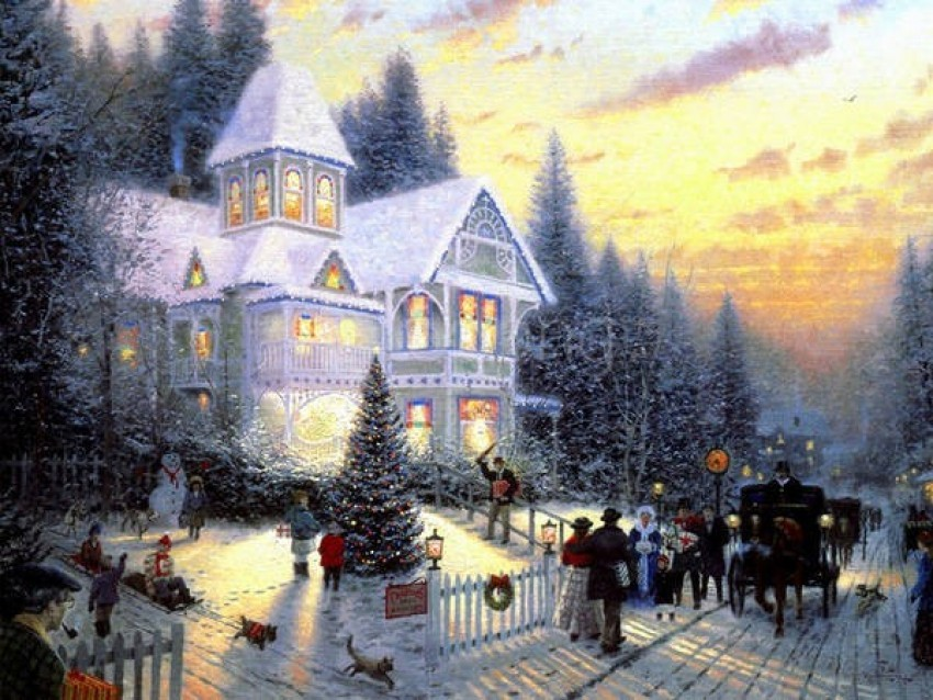 christmas retro house painting background best stock photos@toppng.com