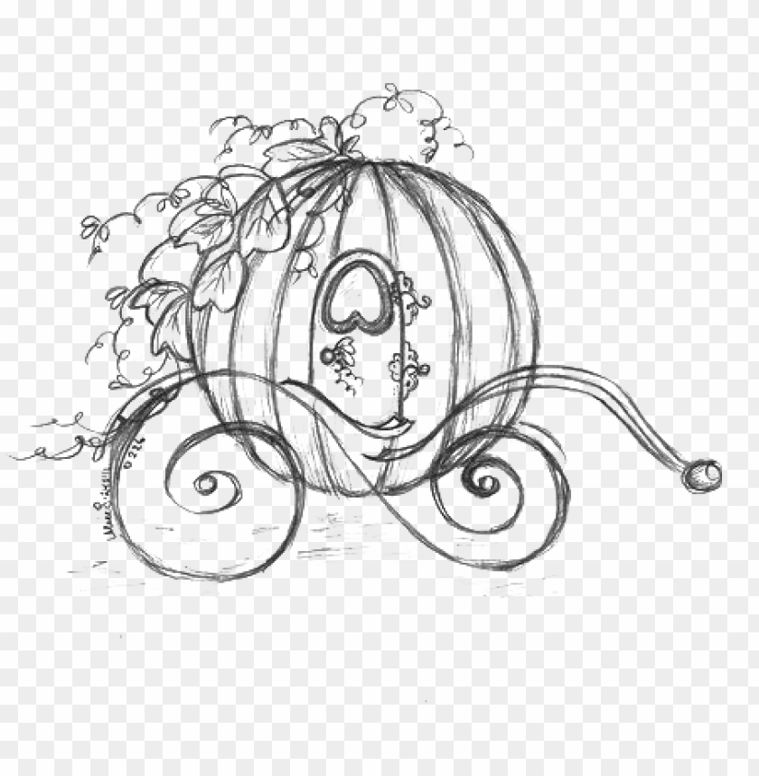 free PNG cinderella carriage drawing pumpkin sketch - cinderella pumpkin carriage sketch PNG image with transparent background PNG images transparent