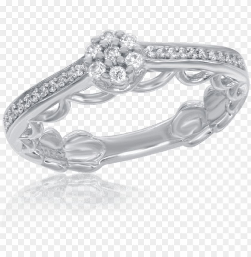 free PNG cinderella diamond promise ring with dress silhouette - enchanted disney cinderella diamond fashion ring 1/4ctw PNG image with transparent background PNG images transparent
