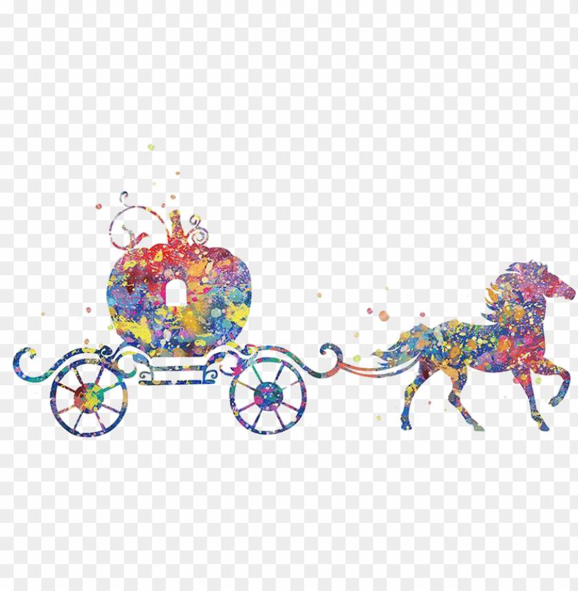 free PNG cinderella pumpkin watercolor painting poster - cinderella pumpkin carriage watercolor PNG image with transparent background PNG images transparent