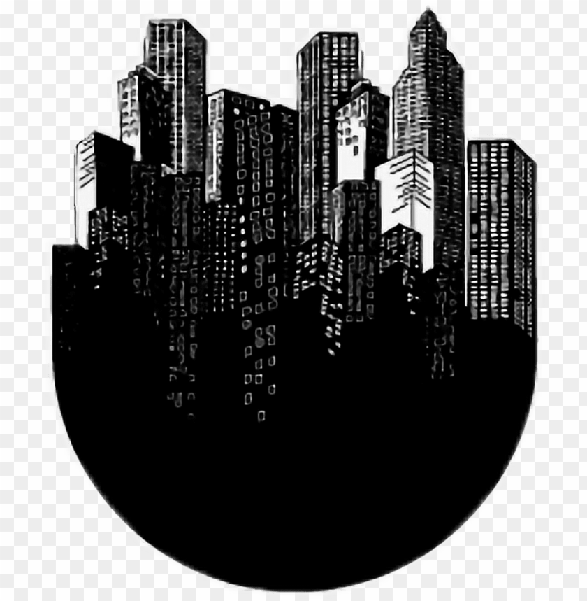 free PNG #city #aesthetic #black #white #blackandwhite #tumblr - metropolitan area PNG image with transparent background PNG images transparent