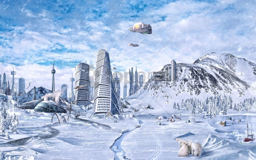 free PNG city, future, planet, science fiction, snow, winter, world wallpaper background best stock photos PNG images transparent