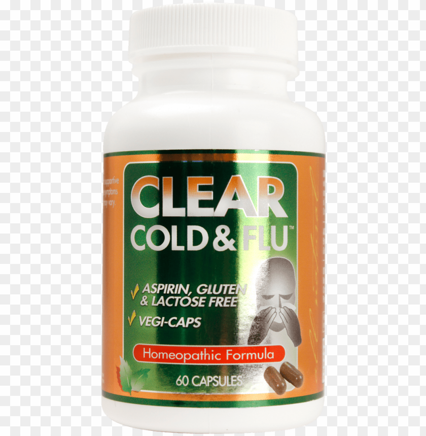 free PNG clear cold & flu 60 capsule bottle - reptile PNG image with transparent background PNG images transparent