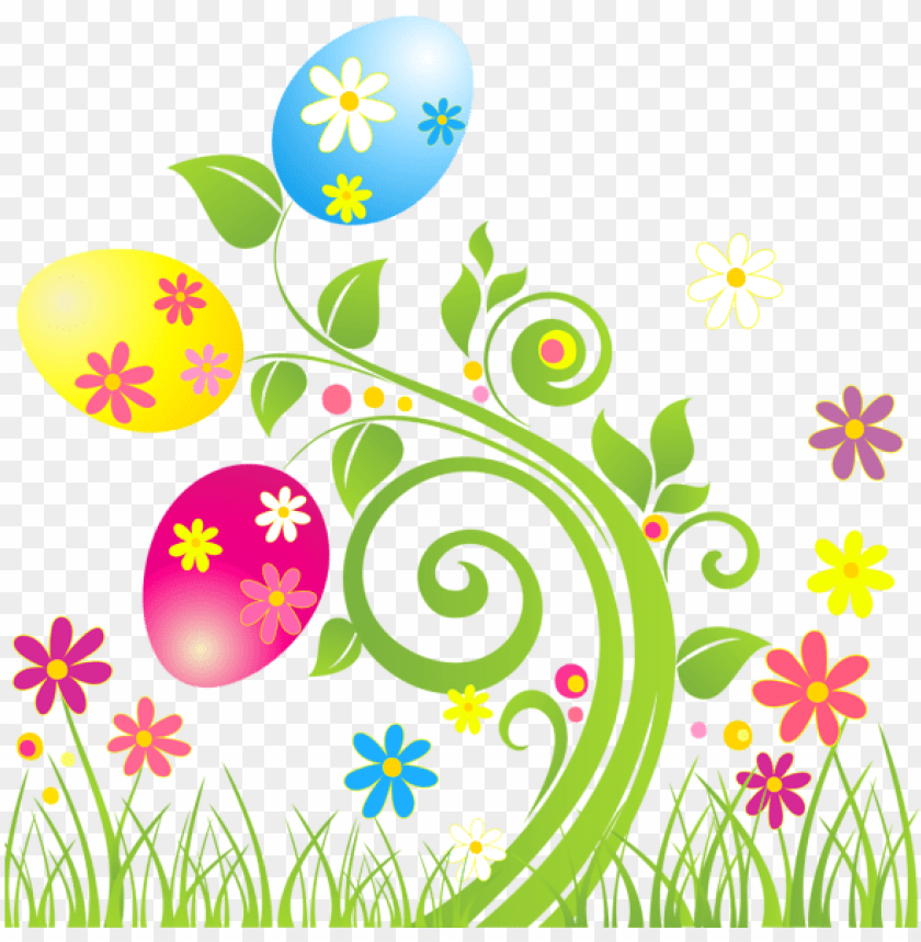 free PNG clip art easter egg decoration with flowers png transparent - easter egg flowers clipart PNG image with transparent background PNG images transparent