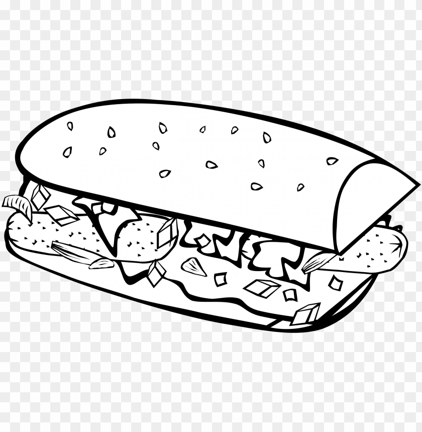 free PNG clip art transparent library fast food breakfast sub - food drawings black and white PNG image with transparent background PNG images transparent