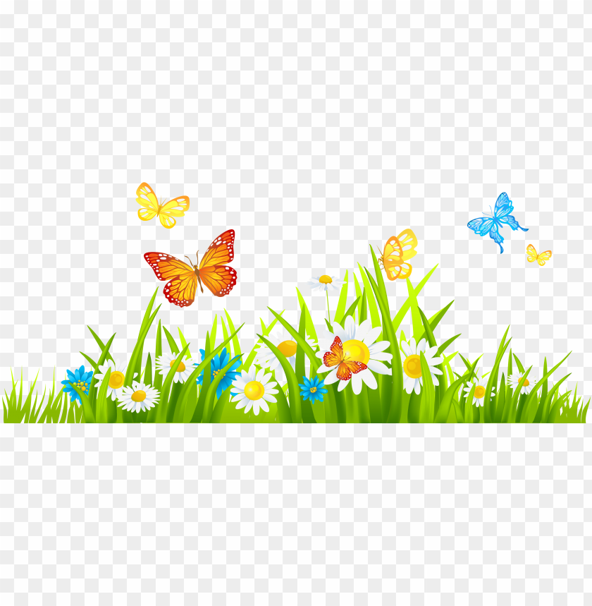 free PNG clipart freeuse download png hd of butterflies and - grass with flower clipart PNG image with transparent background PNG images transparent