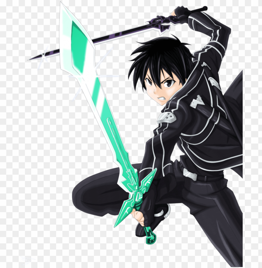 free PNG clipart resolution 810*986 - sword art online kirito dual sword chibi PNG image with transparent background PNG images transparent
