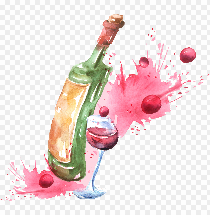 free PNG clipart transparent stock red wine cocktail watercolor - water color wine PNG image with transparent background PNG images transparent
