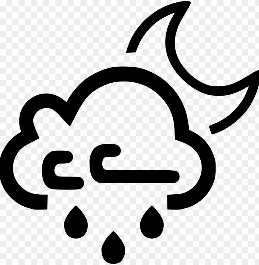Cloud Wind Windy Rain Raining Moon Night Svg Icon Wind And Snow Icon Png Free Png Images Toppng