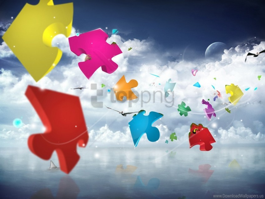 free PNG clouds, colorful, flight, puzzles, sky wallpaper background best stock photos PNG images transparent