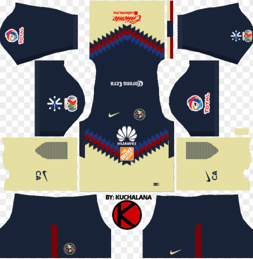club américa kits 2017/2018 - kit dream league soccer 2018 PNG image with transparent background@toppng.com