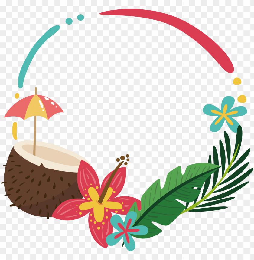 free PNG coconut palm summer border 2732*2620 transprent png - summer border flower PNG image with transparent background PNG images transparent
