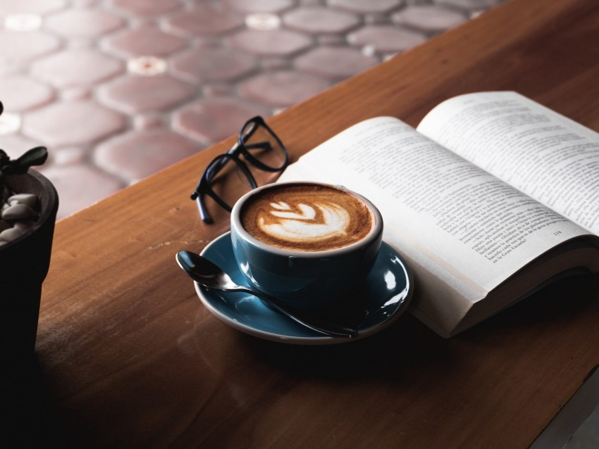 free PNG coffee, book, glasses, drink, cup, table background PNG images transparent