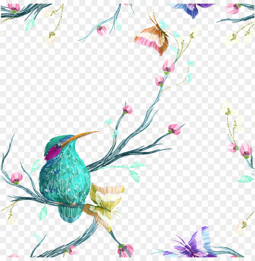 free PNG colorful flowers and birds vector - painted birds and flowers on white background PNG image with transparent background PNG images transparent