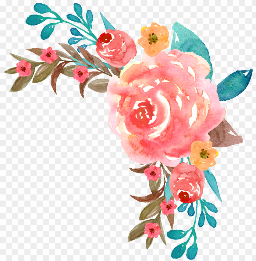 free PNG colorful watercolor flowers free texture png - watercolor painti PNG image with transparent background PNG images transparent