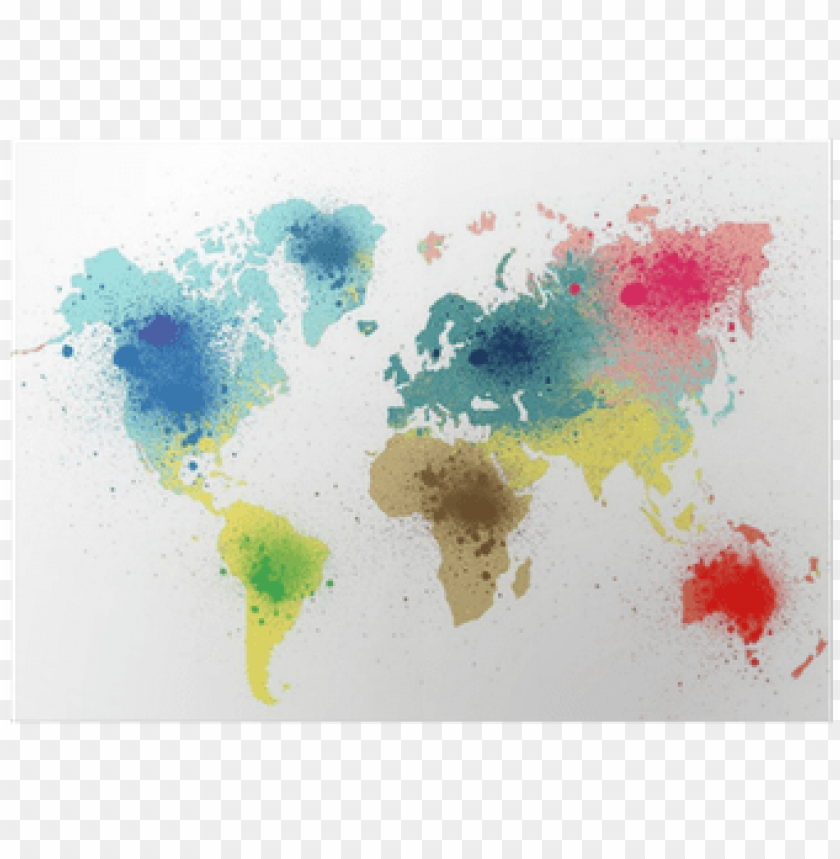 free PNG colorful world map with paint splashes poster • pixers® - theology without borders: an introduction to global PNG image with transparent background PNG images transparent