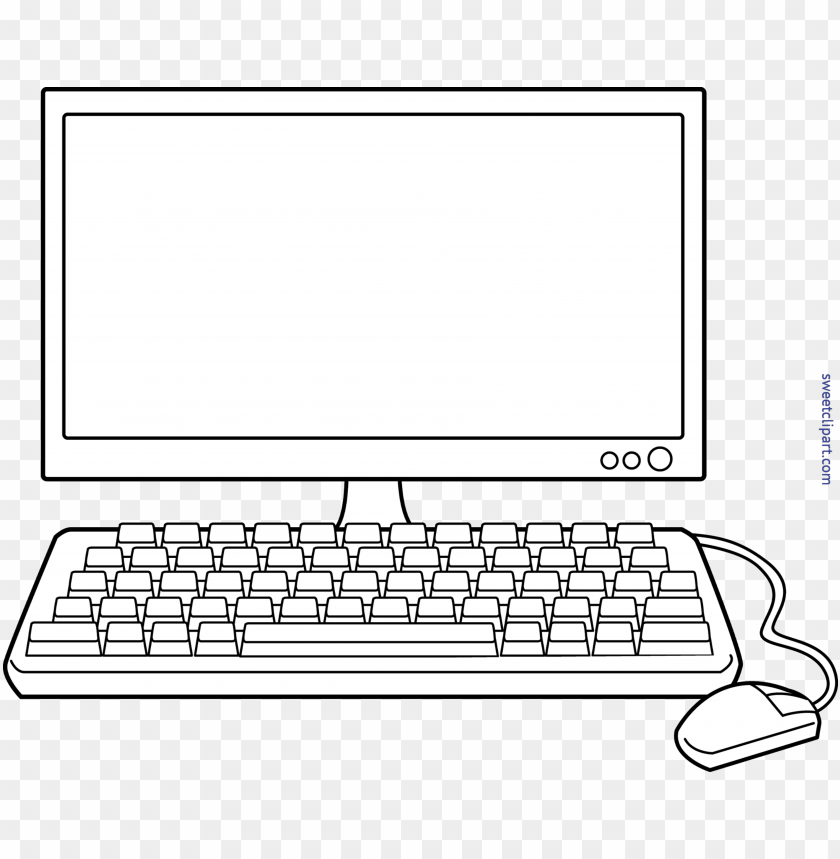 free PNG coloring clipart computer - black and white computer clip art PNG image with transparent background PNG images transparent