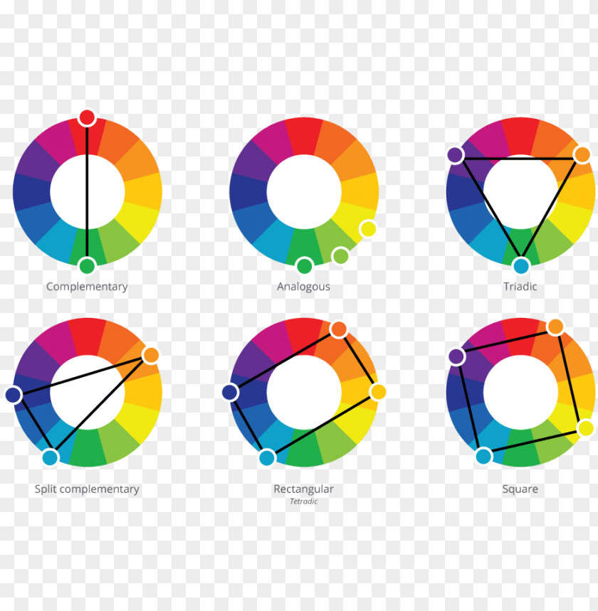free PNG colour harmonies and schemes reference card colour - square color scheme examples PNG image with transparent background PNG images transparent