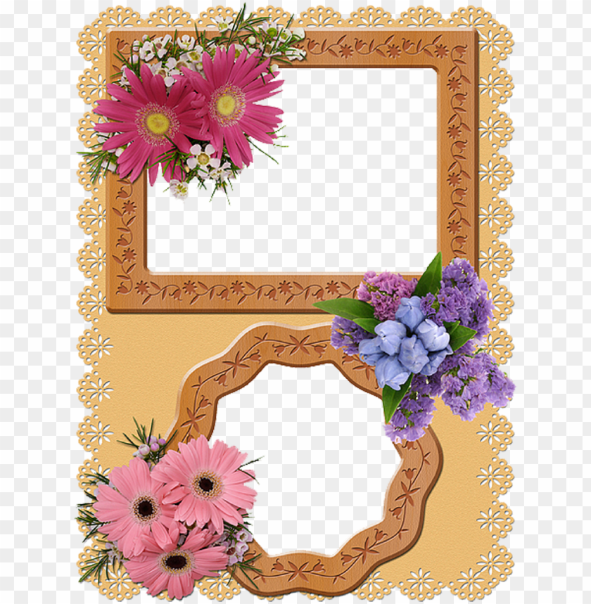 free PNG cool lacy border double photo frame with flower - double photo frame border PNG image with transparent background PNG images transparent