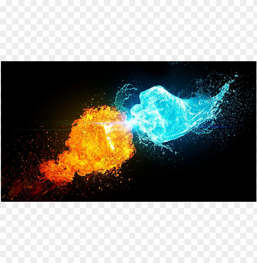 free PNG Cool photo hand fire and ice water PNG images transparent