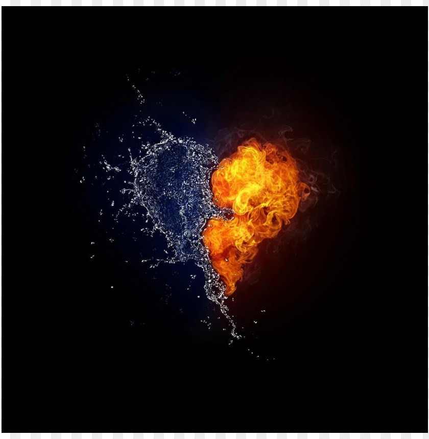 free PNG Cool photo heart water and fire PNG images transparent
