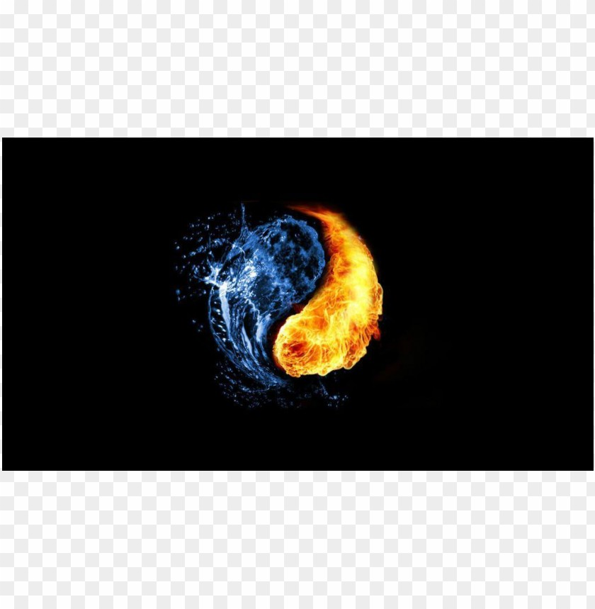 free PNG Yin and yang Cool photo fire and ice water PNG images transparent