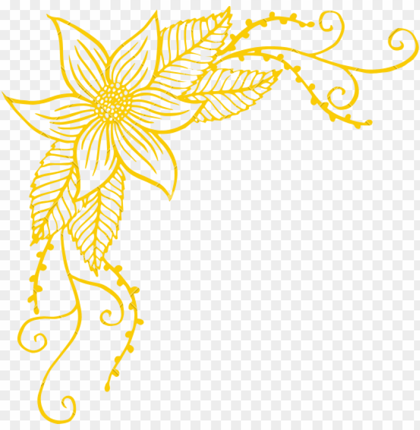 free PNG corner border png - yellow corner flower transparent PNG image with transparent background PNG images transparent