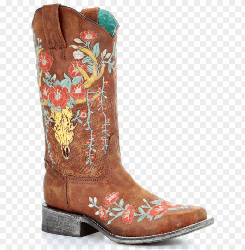 free PNG corral boots® ladies' tan deer skull overlay square - cowboy boot PNG image with transparent background PNG images transparent