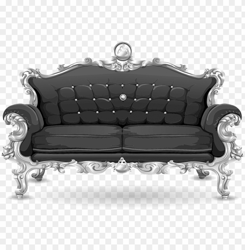 free PNG couch, sofa, loveseat, black, ornate, cushions - png sofa background PNG image with transparent background PNG images transparent