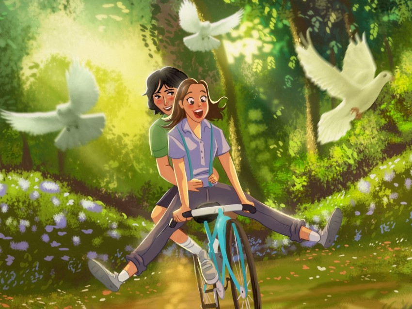 free PNG couple, bicycle, love, romance, art, happiness background PNG images transparent