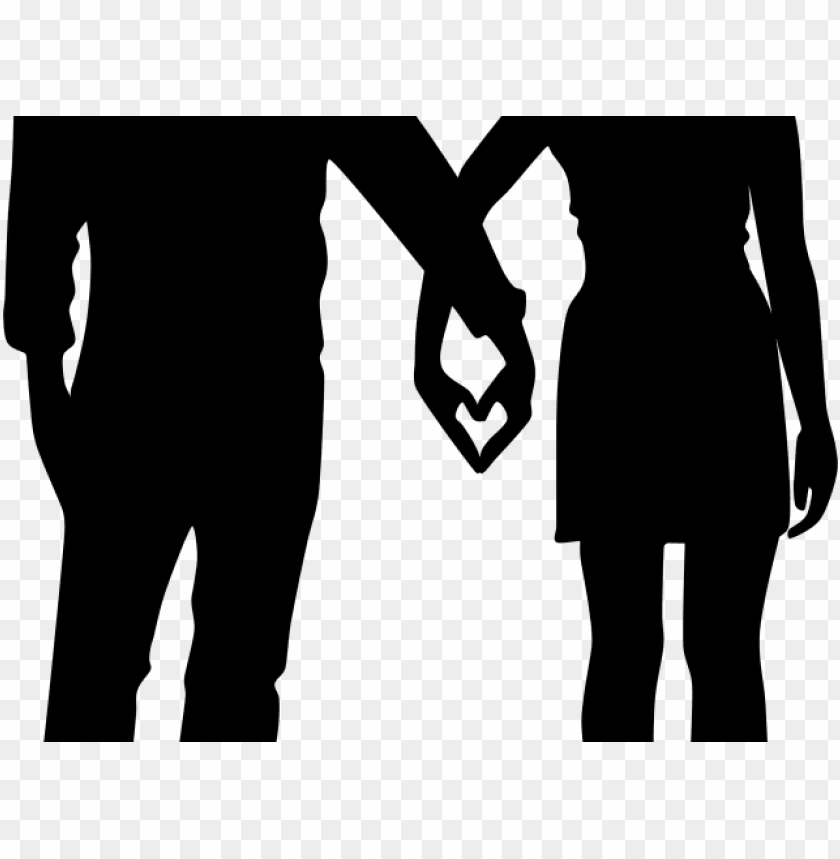 free PNG couple clipart heart - couple holding hands silhouette PNG image with transparent background PNG images transparent