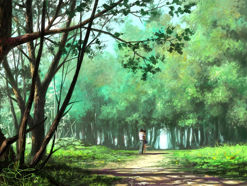 free PNG couple, hugs, art, forest, park, love, romance background PNG images transparent