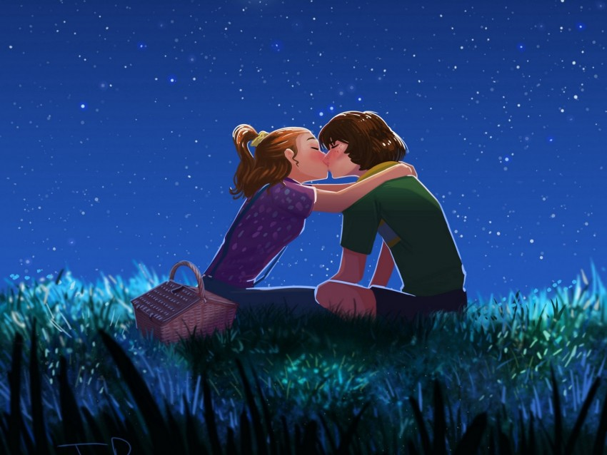 free PNG couple, kiss, art, starry sky, romance background PNG images transparent