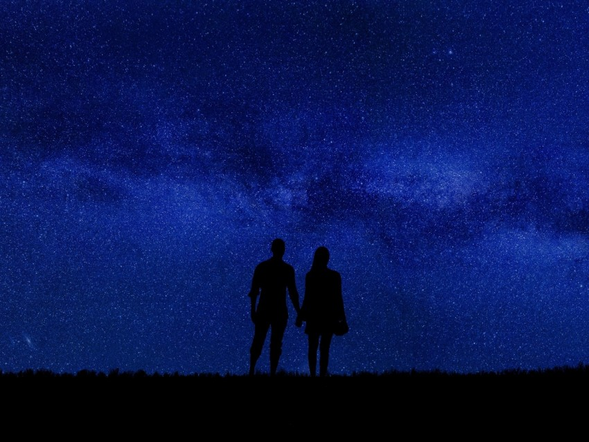 free PNG couple, silhouettes, starry sky, romance, night background PNG images transparent