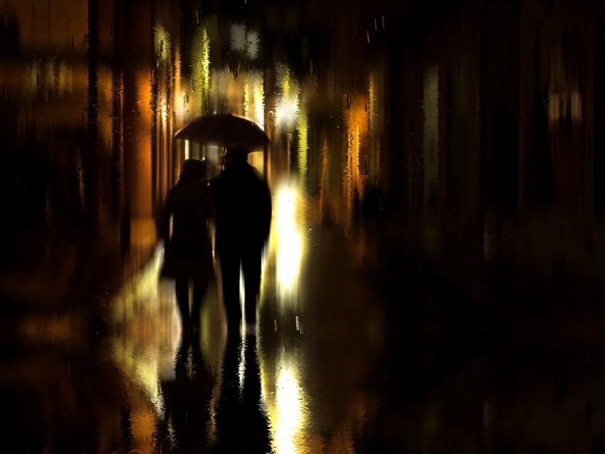 free PNG couple, umbrella, rain, silhouettes, walk, romance background PNG images transparent