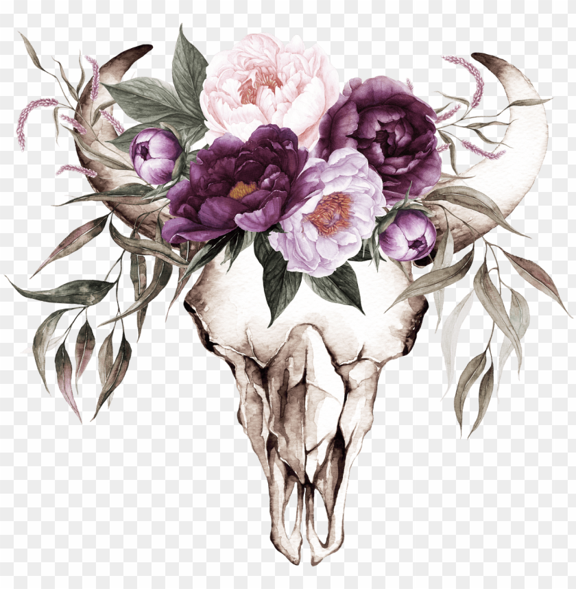 free PNG cow skull with purple flowers transfer - plum color floral wedding invitations PNG image with transparent background PNG images transparent