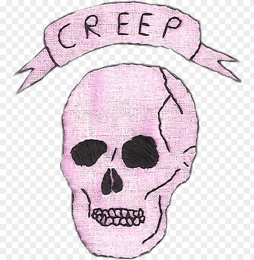 creep skull patch pink tumblr aesthetic - hipster tumblr transparent PNG image with transparent background@toppng.com