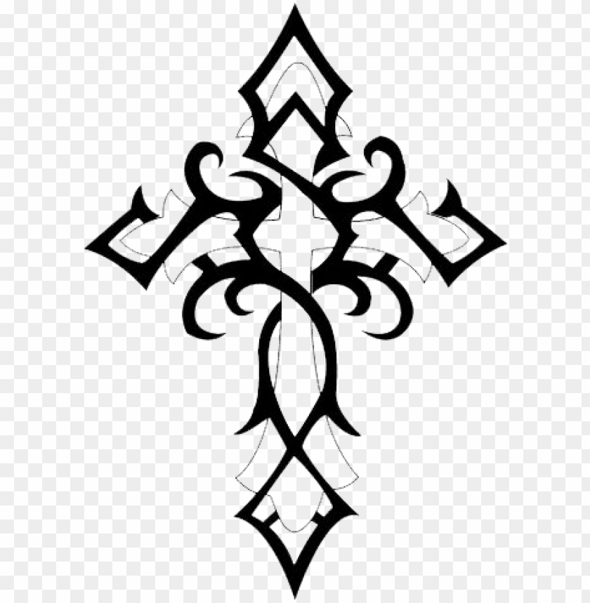 free PNG cross gothic tattoo png - tribal cross tattoo PNG image with transparent background PNG images transparent