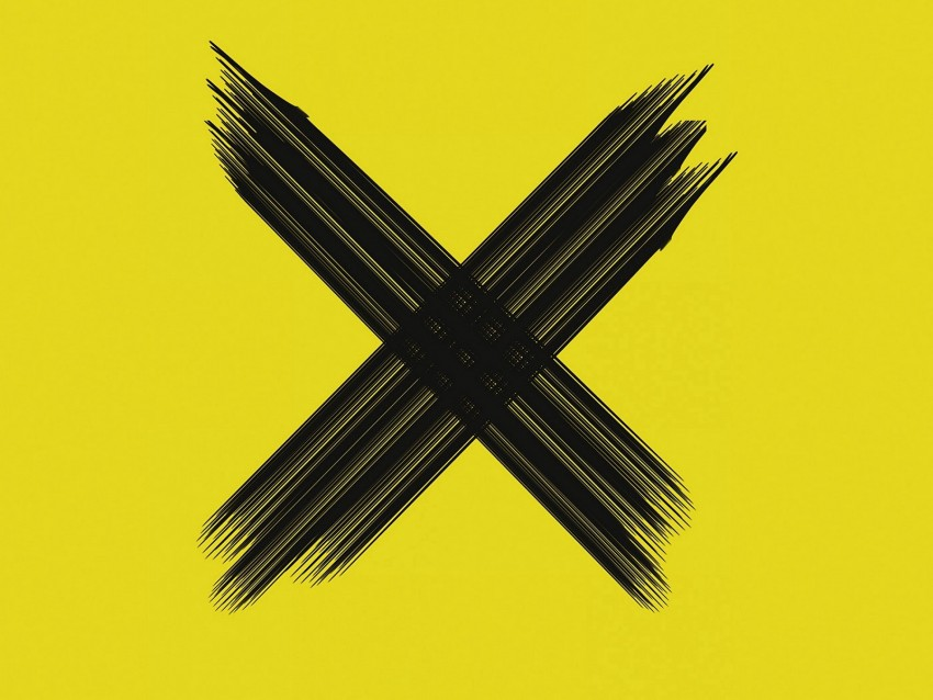 free PNG cross, symbol, brushstrokes, intersection, black, yellow, minimalism background PNG images transparent