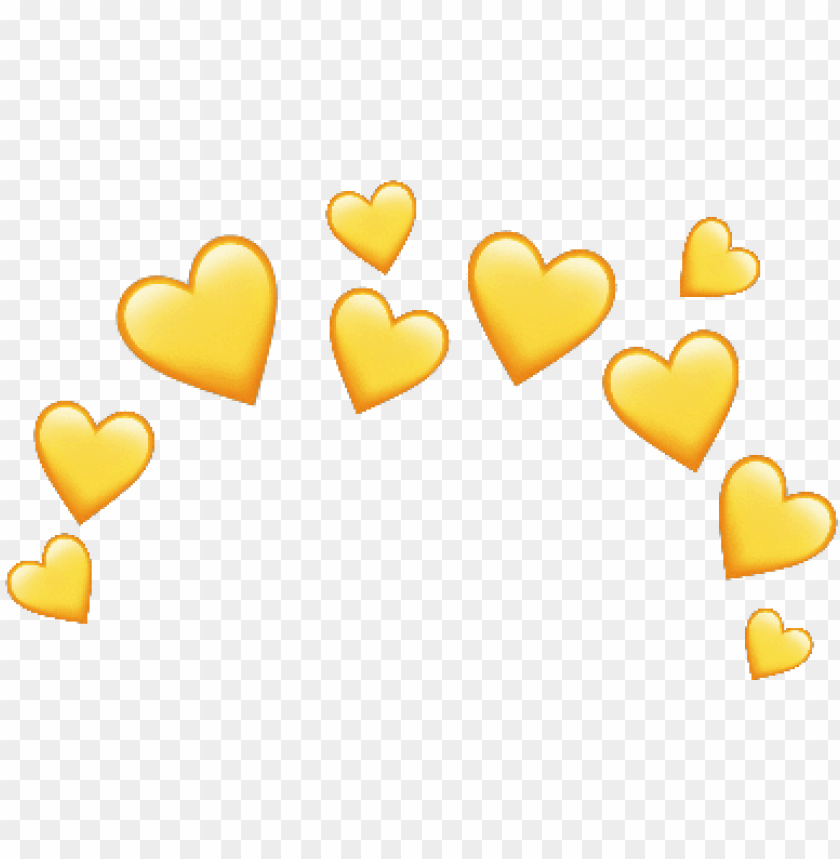free PNG crown yellow heart emoji love corona amarillo corazon - yellow heart crown PNG image with transparent background PNG images transparent