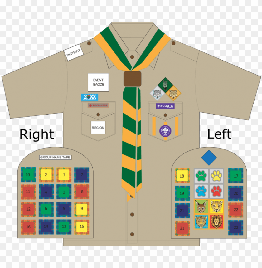 free PNG cub badge chart 2017 - scouts south africa badge placement PNG image with transparent background PNG images transparent